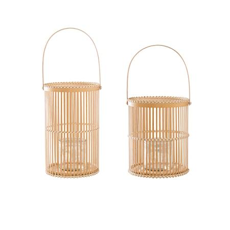 Bild av Bloomingville Lanterna m/Glas Natur Bambu 17x30cm, 2-pack