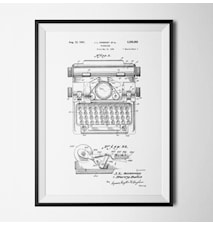 Patent typewriter white poster