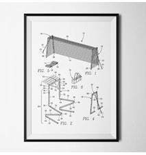 Patent fotbollsmål vit poster