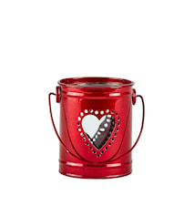 Ljuslykta Zink/Röd 9x10,5 cm