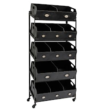 Iron display with black drawers