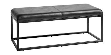 Bänk i läder 123 cm - Svart
