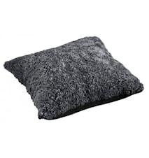 Ace Large Kudde fårskinn/ulltyg 50x50 - Charcoal/Black