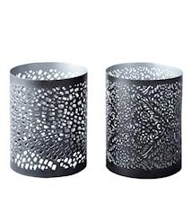 Kynttilälyhty Metalli Musta/Hopea 10,5 cm