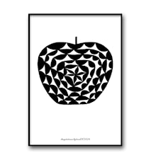Mönsteräpple svart poster – 30x40