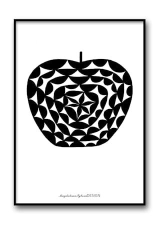Bild av Magdalena Tyboni Design Mönsteräpple svart poster – 30x40