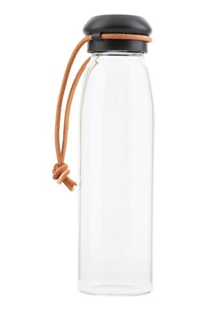 Vandflaske med låg 50cl - Klar/Sort