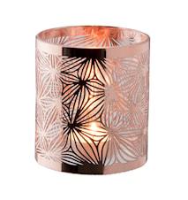 Lykta koppar med glasrör mönster höjd 10 cm