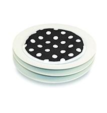 Tallriksvärmare för mikrovågsugn 4-pack Svart med vita prickar