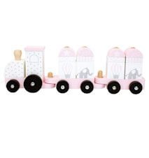 Træklegetøj Tåg m Klodser Rosa