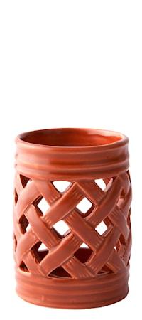 Bild av KJ Collection Ljuslykta med mönster Orange 10,5 cm