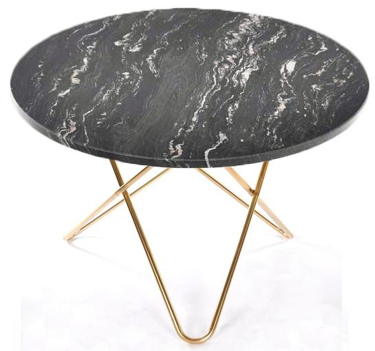 Big O table matbord - svart/mässing underrede