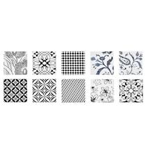 Kakelplatta Print Vit/Svart Keramik 10-pack 0,7x10x10 cm
