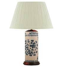 Lampfot, 32 cm, pennmodell med blå fiskar och krackelerad gråvitt botten