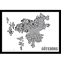 Göteborgskartan poster - Svart