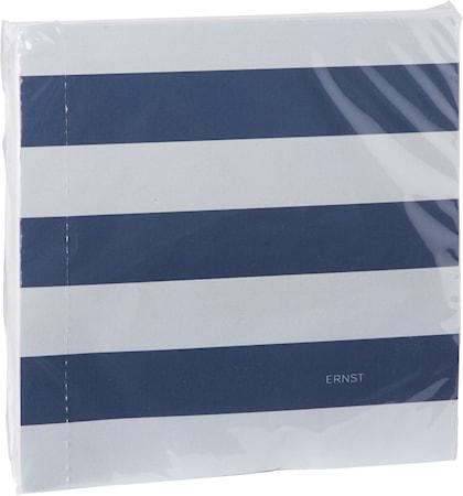Servett randig, 40x40, beige/blå