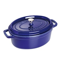 Oval Gryte 29 cm mørk blå, 3 lager emalje 4,2 L