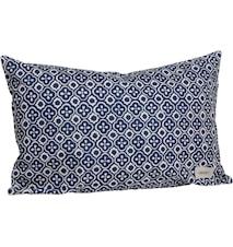 Kudde blå/vit mönstrad 40x60