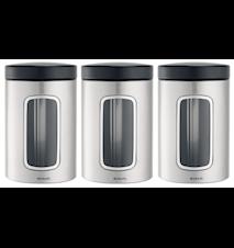 Oppbevaringsboks med vindu 1.4 Ltr x 3 Matt Steel / F.P.P.
