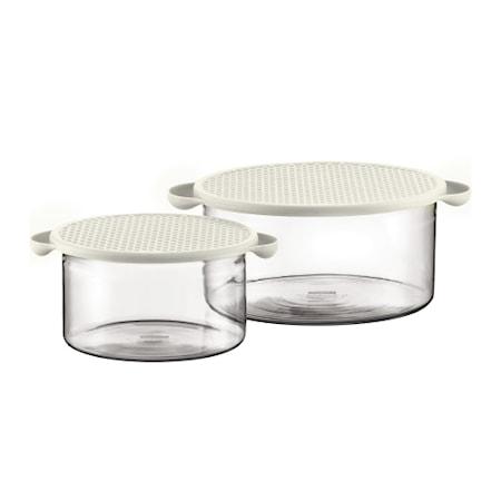 Hot Pot Skålset med Silikonlock 1 och 2,5 liter Vit