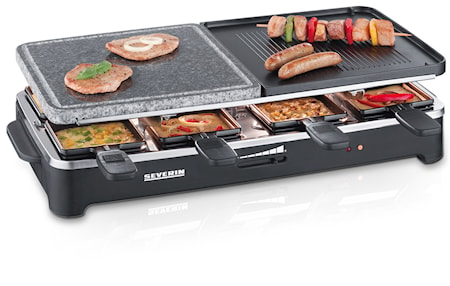 Partygrill Raclette & Grillsten, 8 pannor