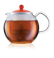 Assam Tekanna 1 liter Röd m Glashandtag