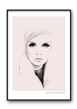 Bild av Magdalena Tyboni Design Twiggy pink poster