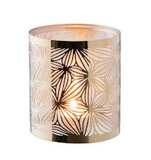 Lykta mässing med glasrör mönster höjd 10 cm