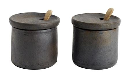 Suola ja Pippurisetti kannella Terrakotta 7x7,5 cm