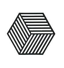 Grytunderlägg Hexagon Svart 16x14 cm