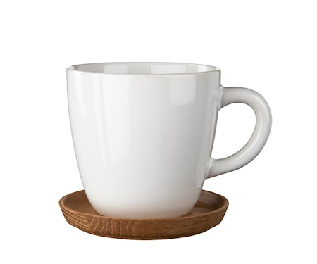 Höganäs Keramik kaffemugg 33 cl med träfat vit blank