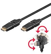 Champion HDMI-kabel Vridbar kontakt 2m