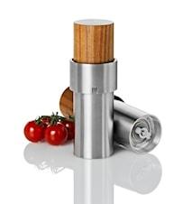 iVAN WOOD - Manuell, keramisk salt-/pepparkvarn i rostfritt stål och akacieträ