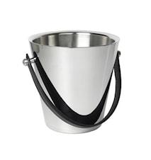 Champagnekylare med handtag stål/läder look - 23 cm