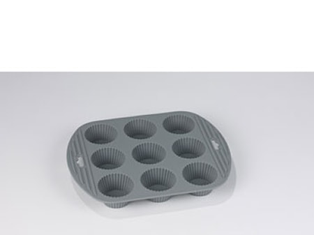 Muffinform 9 hul grå silikone