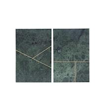 Marmorbrikke 2 usorterte trykk 20x30 cm - Grønn