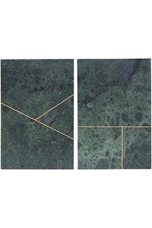Marmorbricka 2 osorterade tryck 20x30 cm - Grön