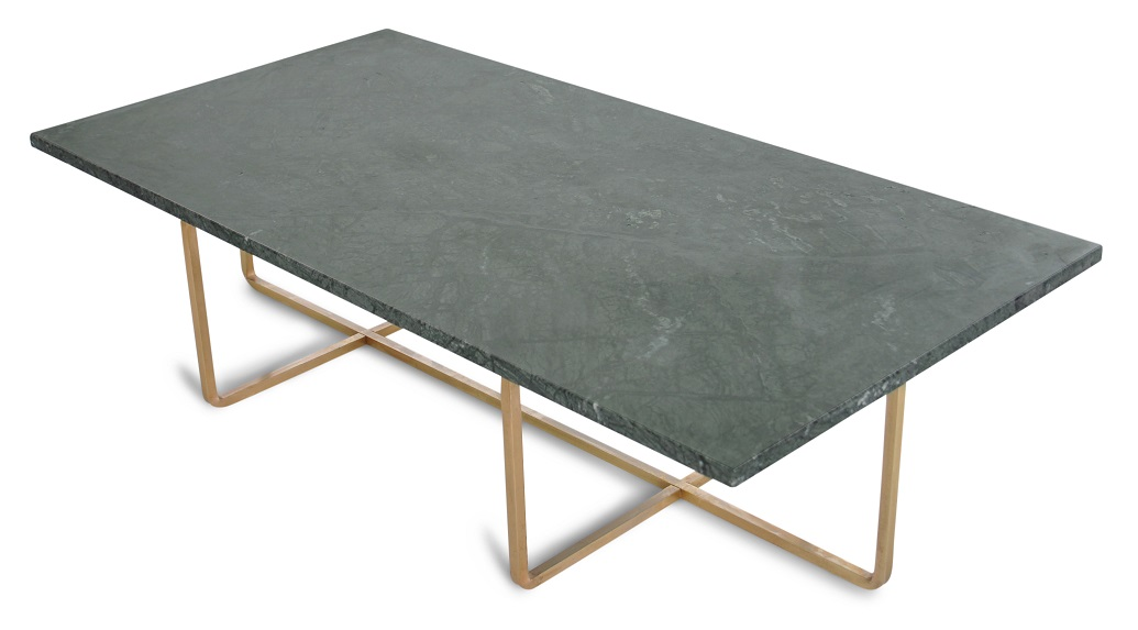 Demo-Ex Ninety Table XL - Grön marmor/mässingstomme H40 cm