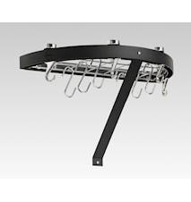 Hahn Premium rund væghylde 50x25x4 cm sort stål