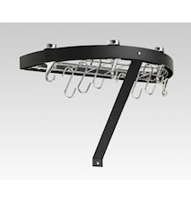 Hahn Premium rund vägghylla 50x25x4 cm svart stål