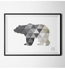 Nordic bear grey poster