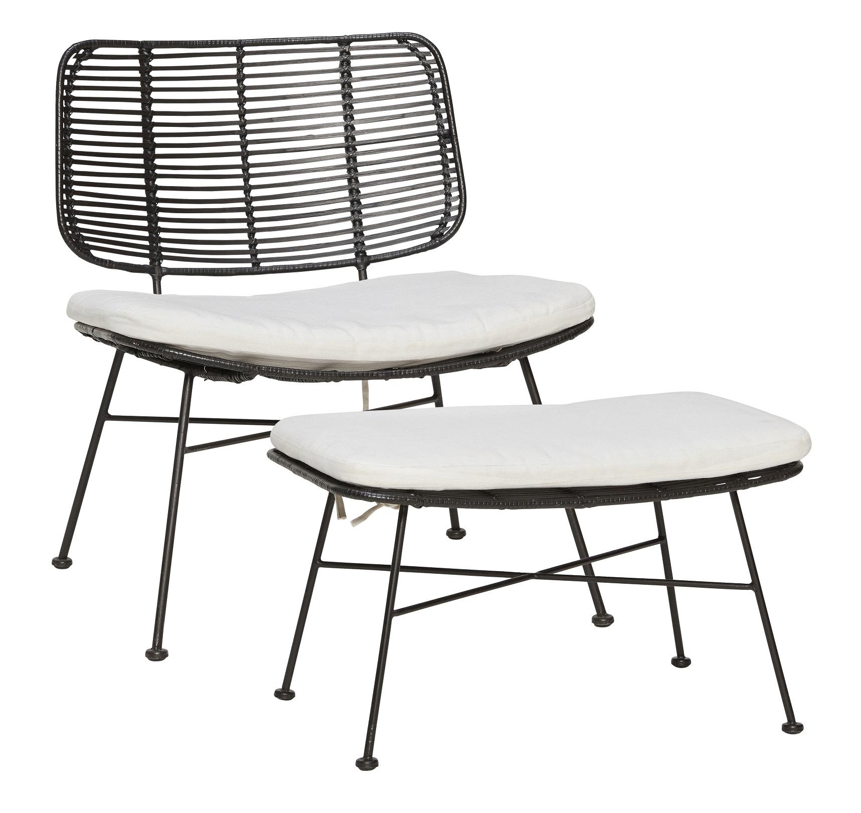 Lounge stol inkl fotpall och dynor