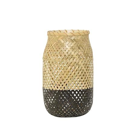 Bild av Bloomingville Lanterna m/Glas Natur/Svart Bambu 18x30cm
