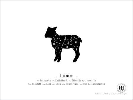 Bild av Knaada Styckningsschema lamm poster