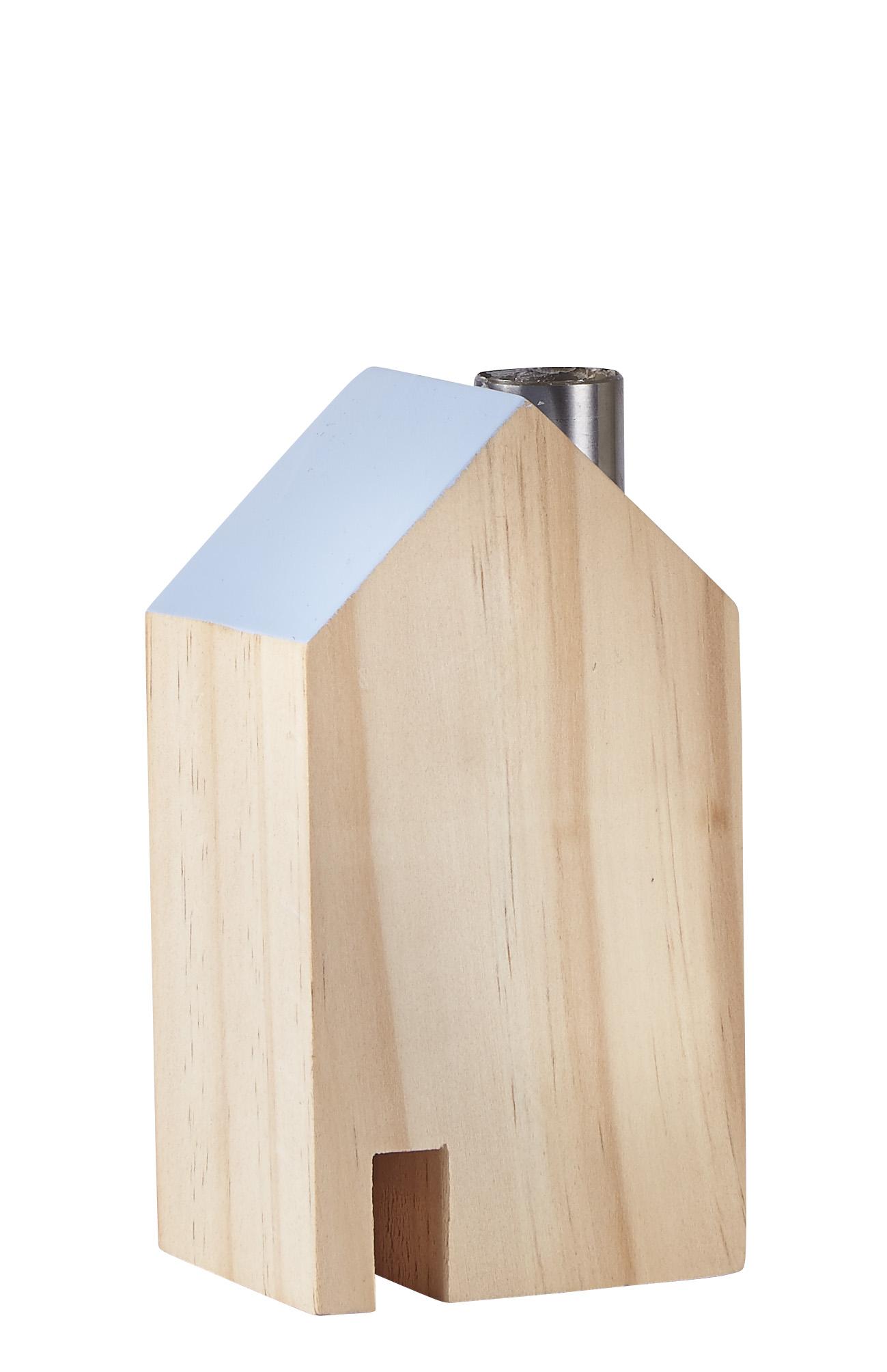 Figur Hus Metall/Blå 14 cm