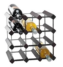 Viiniteline puu/metalli musta 12 pulloa k 33cm
