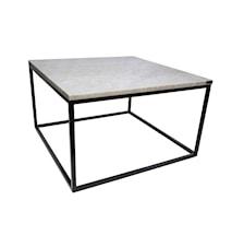 Soffbord Vit marmor/Svart 80x80x45 cm