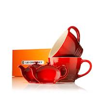 Jumpokopp med Tepåsefat Cerise 2-pack Presentförpackning