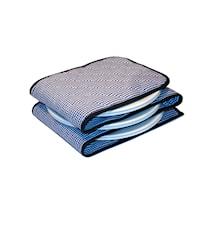 Tallriksvärmare för 3-12 tallrikar Blå och vit smårutigt