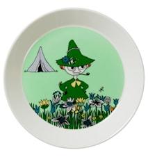 Mumin tallrik 19 cm Snusmumriken grön